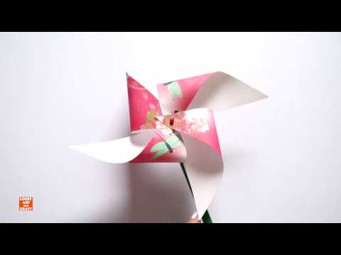 Kids Paper Fan with stick | Pin Wheel that Spins | Art tutorial for children | Origami for kids