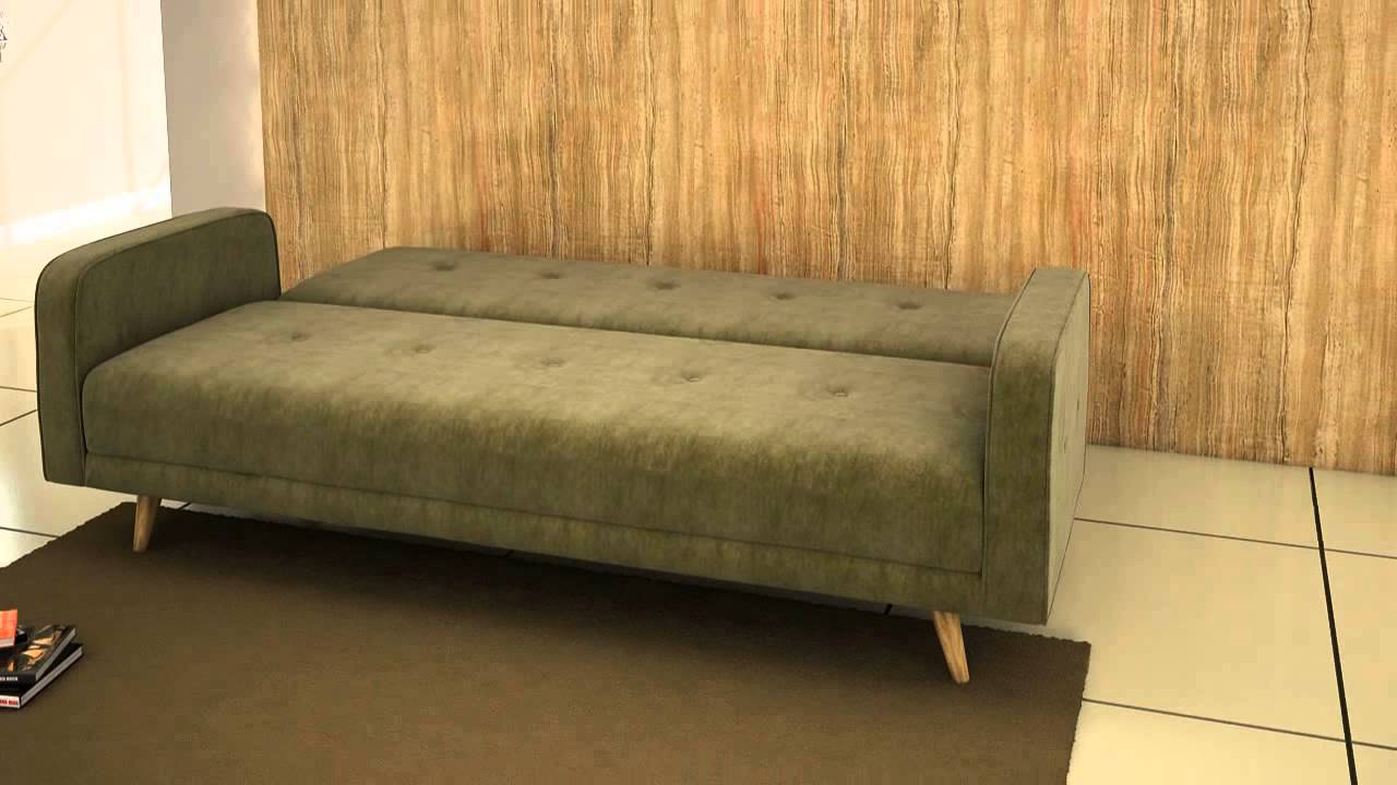 schlafsofa daru samtvelour gr n home 24 youtube. Black Bedroom Furniture Sets. Home Design Ideas