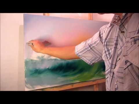 Oil painting. Azure surf. Full video.