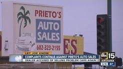 Complaints continue against Prieto's auto sales