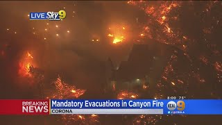 Mandatory Evacuations Ordered In Corona As Brush Fire Grows To 1,500 Acres