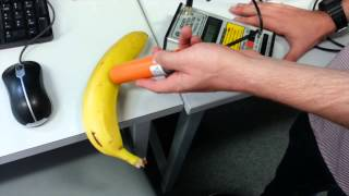 Radiation from a banana measured using a Geiger counter