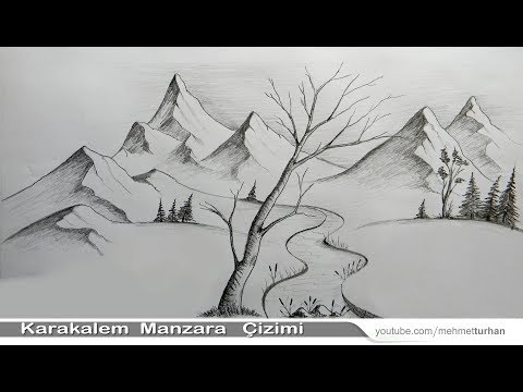 Karakalem Manzara (Peyzaj) Çizimi Nasıl Yapılır? How to draw Scenery drawing?  Landscape picture