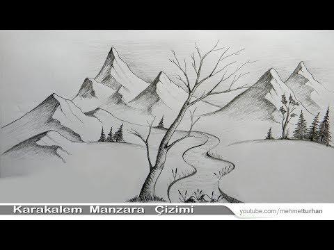 Karakalem Manzara Peyzaj Cizimi Nasil Yapilir How To Draw