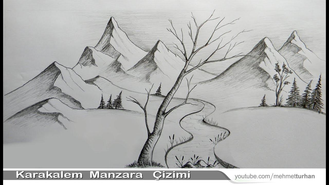 Karakalem Manzara çizimi Nasıl Yapılır Kara Kalem çizim Tekniği Ile
