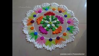 Very easy rangoli using bangles | Rangoli designs by Poonam Borkar