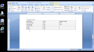 Microsoft Word 2007 Inserting rows and columns in a table (PART 1)
