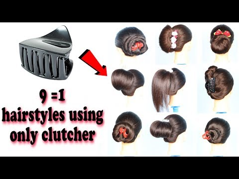 9-beautiful-trendy-hairstyle-using-clutcher-|-1-minute-hairstyle-||-prom-hairstyles-|-bun-hairstyles