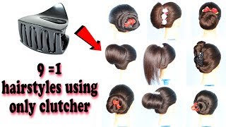 9 beautiful trendy hairstyle using clutcher | 1 minute hairstyle || prom hairstyles | bun hairstyles