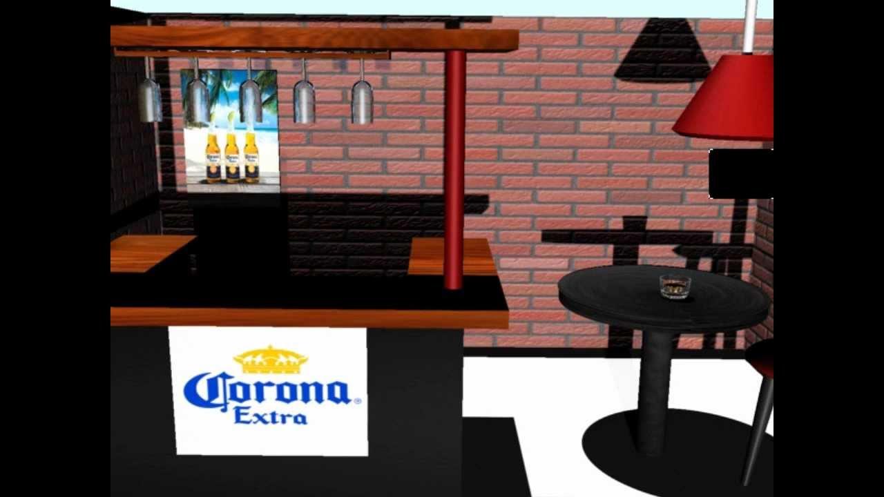 Mini bar hecho en 3d studio max youtube for Bar casero de madera