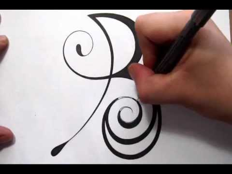 drawing a fancy cursive initial design capital letter b