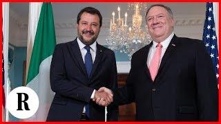 Matteo Salvini a Washington: la conferenza stampa dopo l'incontro con Pompeo e Pence