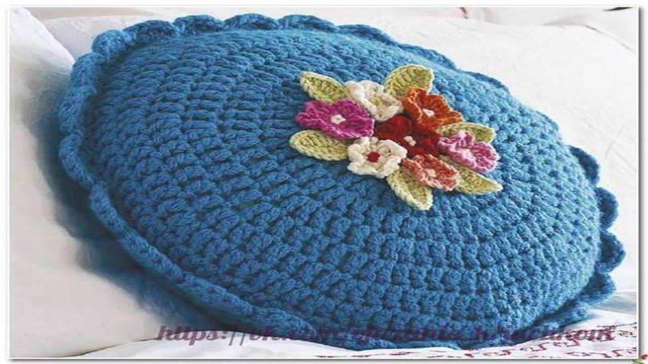 Cojines hechos de lana y hilo tejidos a crochet n 06 youtube - Cojines de lana ...