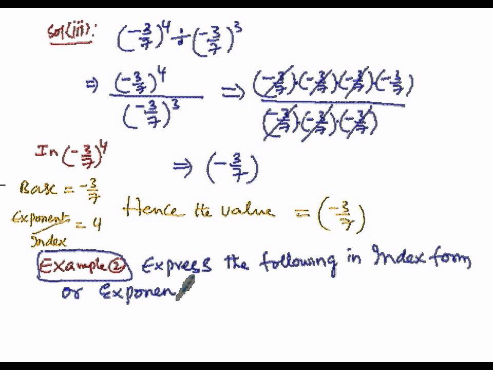 Algebra Exponent powers Express Index form part2 - YouTube