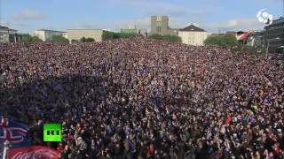 Epic Viking war chant: 10,000 fans pay tribute to Iceland team leaving Euro 2016