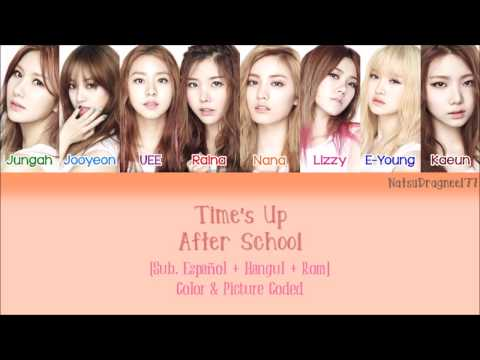 After School - Time's Up [Sub. Español + Hangul + Rom] Color & Picture Coded