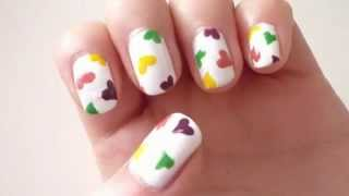 Multi-color Hearts Nail.