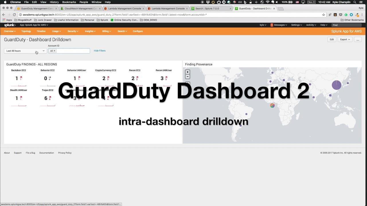 Splunk + AWS GuardDuty Example Dashboard Walkthrough