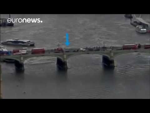London attack: Moment car drove into pedestrians on Westminster Bridge