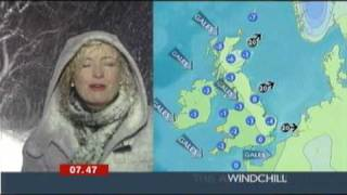 Repeat youtube video Very snowy weather report BBC (Carol Kirkwood at the Glenshane Pass)
