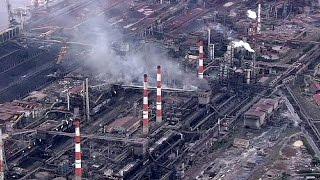 Япония. Взрыв и пожар на сталелитейном заводе