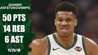 Giannis Antetokounmpo posts monster 50-point, 14-rebound game for Bucks | 2019-20 NBA Highlights