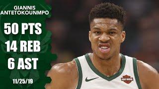 Giannis Antetokounmpo posts monster 50-point, 14-rebound game for Bucks | 2019-20 NBA Highlights Video