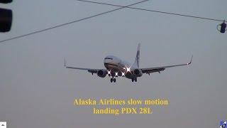Alaska Airlines N317AS 737-900 Slo-mo Landing PDX