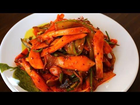 Sweet, Sour, & Spicy Mushrooms with Water Dropwort (버섯 미나리 초무침)
