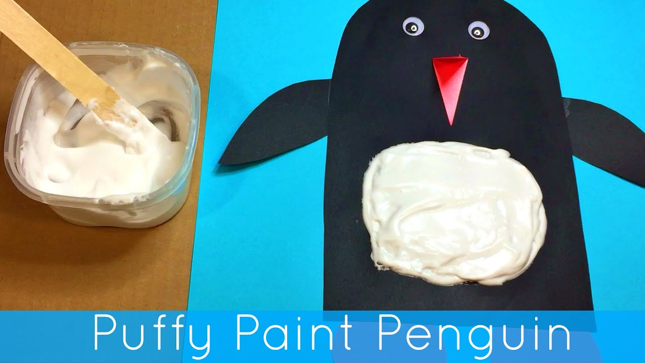 Puffy Paint Penguin Craft Project For Preschool And