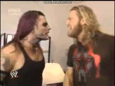 Edge and Vickie Guerrero backstage(Jeff Hardy and Triple H brawl)