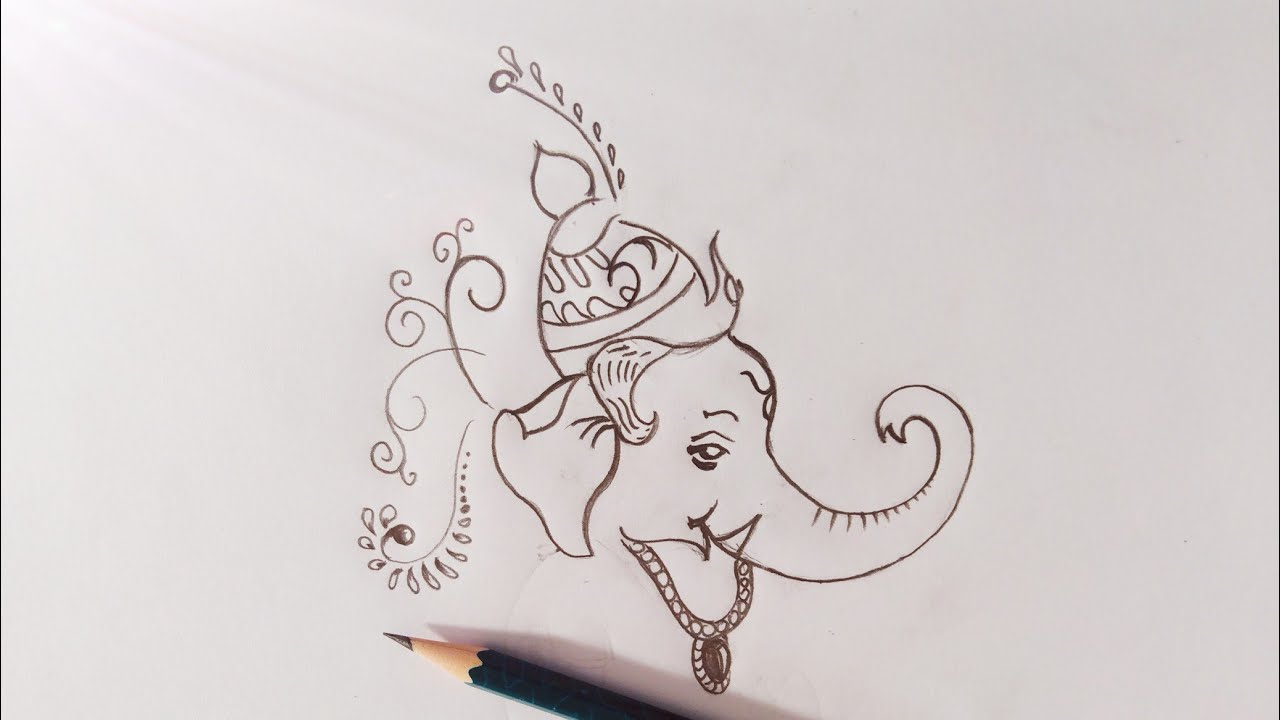 Vinayagar drawing easy pencil sketch
