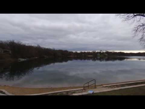 Parrot Bebop Drone Over A Glossy Silver Lake, North Beach, Oakwood Hills, IL. Quadcopter Footage.