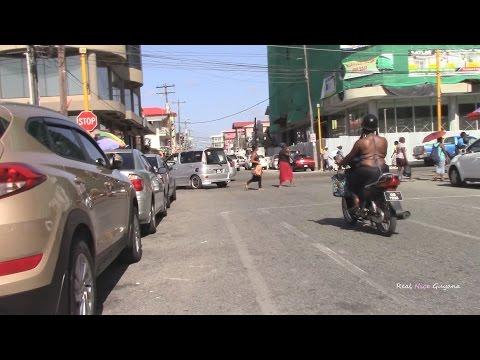 Walking around Regent and Camp Streets Georgetown Guyana (HD)