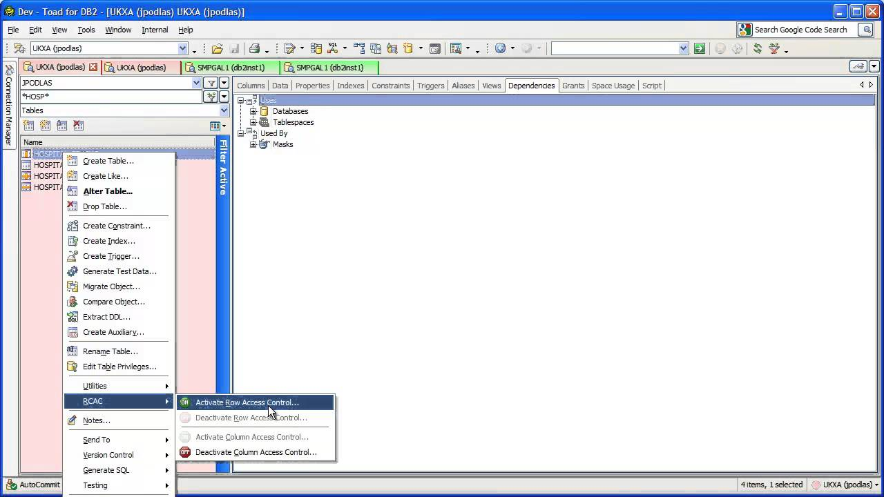 Toad for IBM DB2 v5 1 Row Column Access Control - Toad for