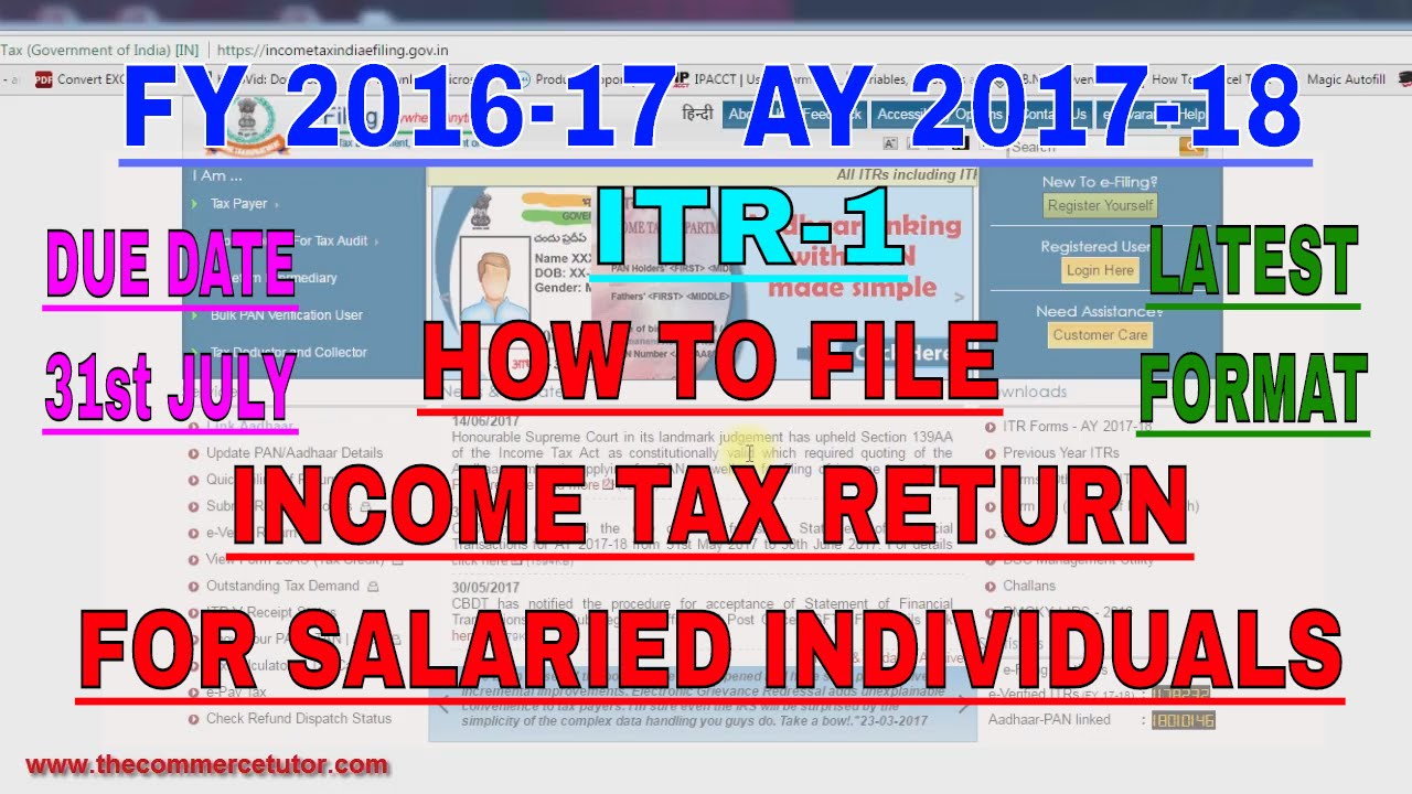 How to file income tax return online for salaried employees ay how to file income tax return online for salaried employees ay 2017 18 ccuart Images