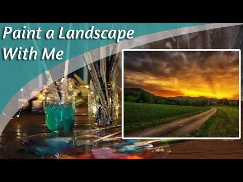 Sunset Landscape Paint With Me LIVE! & Art Chat
