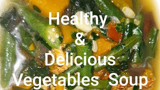 Healthy and Delicious Vegetables Soup with Dried Fish