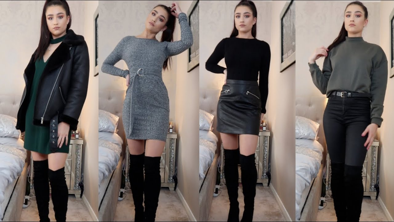 HOW TO STYLE OVER THE KNEE BOOTS  CUTE AUTUMN/WINTER OUTFIT IDEAS  (AFFORDABLE)