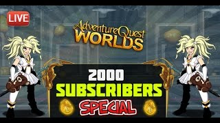 hitting 2000 subscribers thank you playing 2 new events badges chilling aqw 2016 live