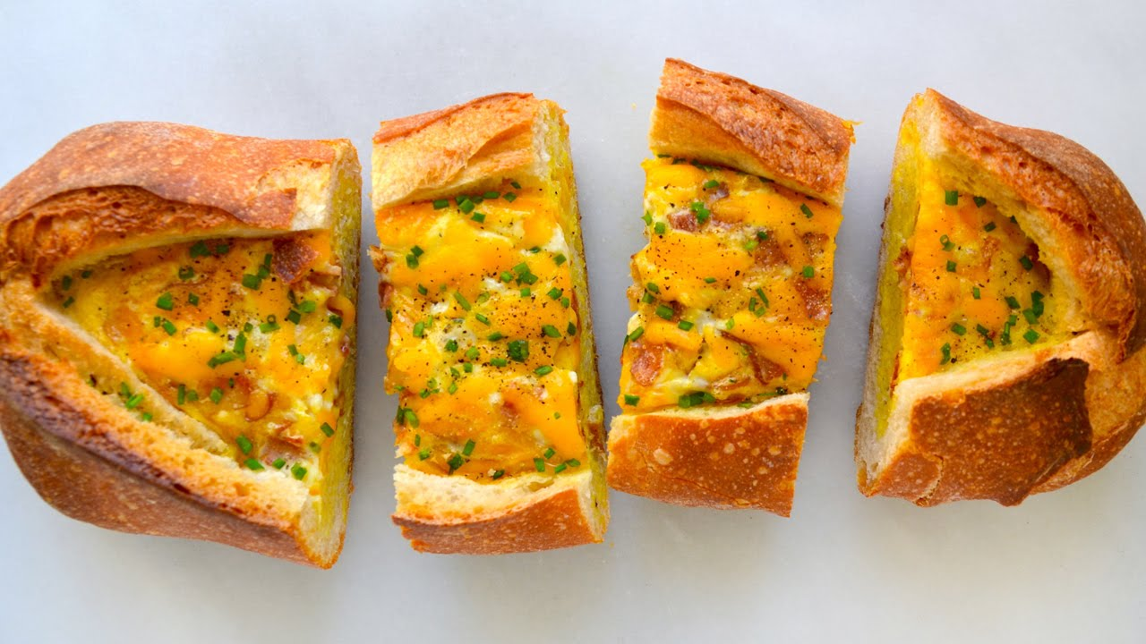 Cheesy Baked Egg and Bacon Boats - YouTube