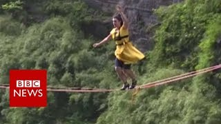 High heels raise the odds in China slacklining contest - BBC News