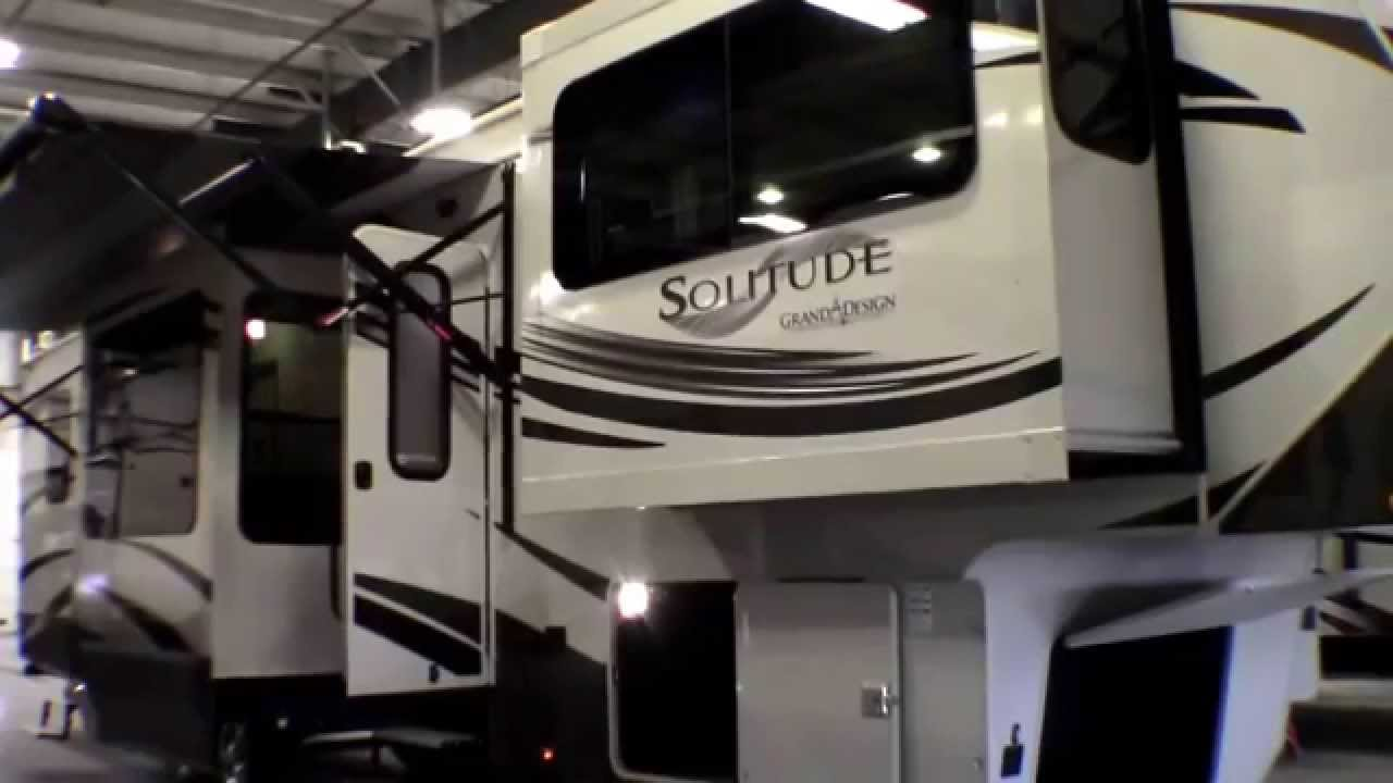 Fifth Wheel With Front Living Room Beige Leather Ideas 2014 Grand Design Solitude 379fl Five Slide Youtube