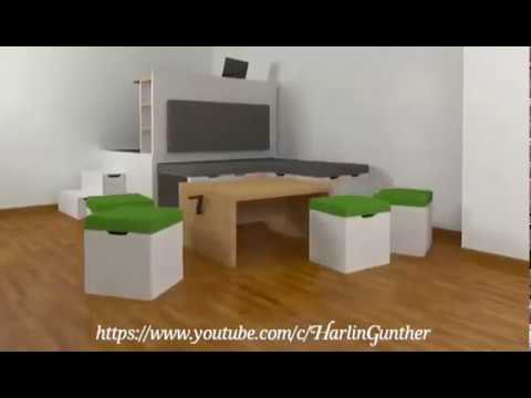 all in one furniture. Multifunctional / All In One Furniture Set For Small Spaces