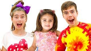 Coleção de vídeos de Nastya Artem e Mia para crianças sobre balões, salão de beleza e chocolate