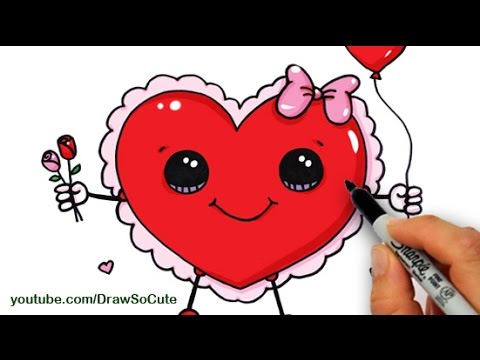 How To Draw A Valentine Heart Cute And Easy Step By Step   YouTube