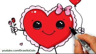 How to Draw a Valentine Heart Cute and Easy step by step