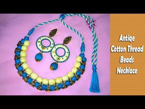 Charming Cotton Thread Beads Antique Bail Necklace Making / Tutorial / DIY