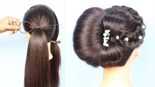 New french bun hairstyle with using clutcher    beautiful hairstyle    prom hairstyles    hairstyle