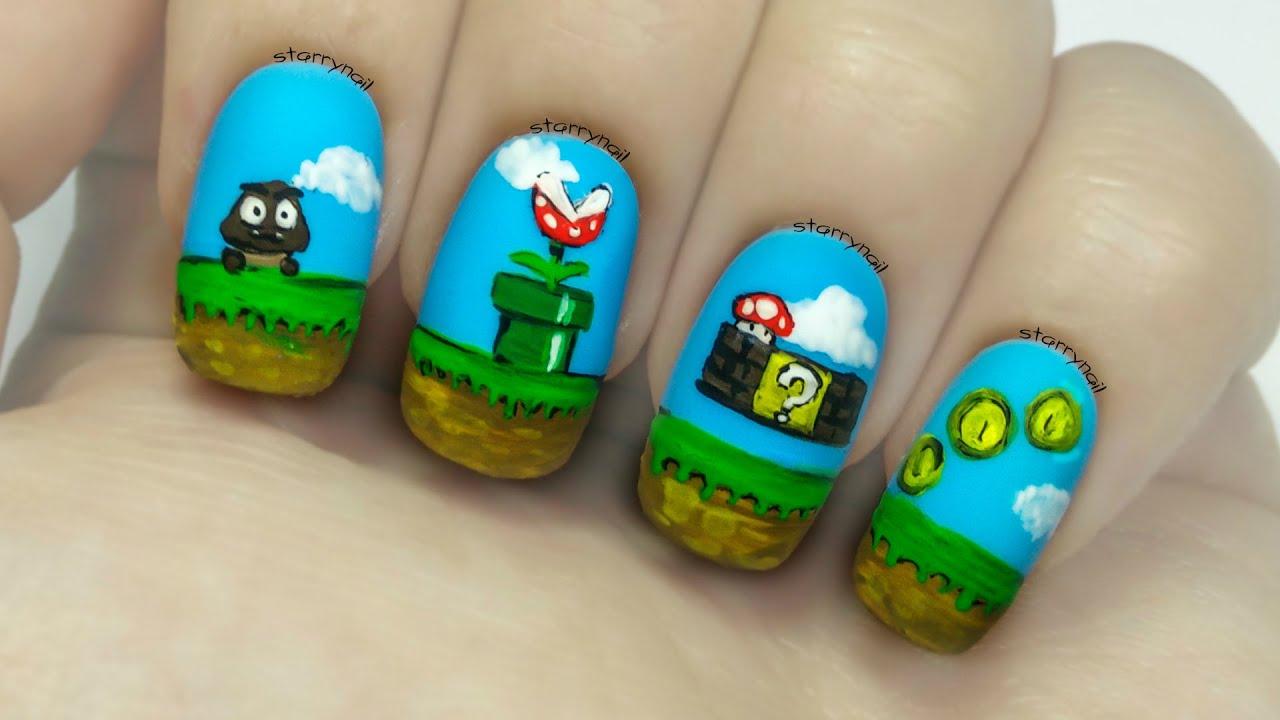 Super Mario Bros [Freehand Nail Art] - YouTube